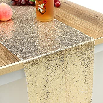 Amazon.com: KINGSO Silver Champagne Gold Sequin Table ...