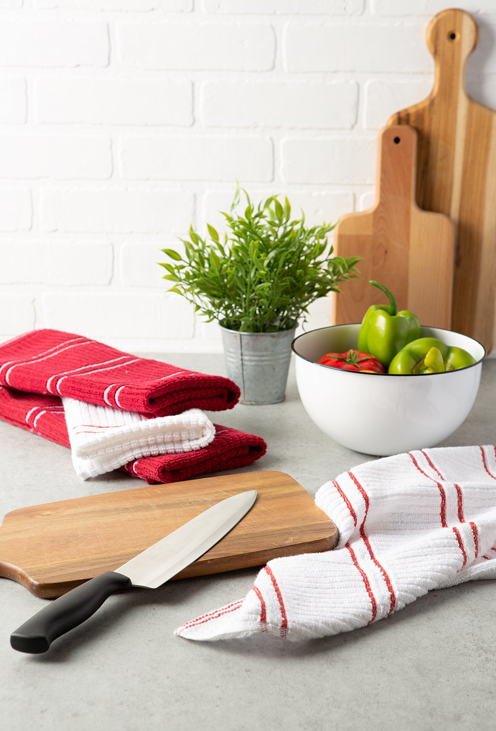 J&M Home Fashions Ribbed Terry Kitchen Dish Towels (16x26 Set of 6 - Assorted Red & White) Absorbent & Durable for Wiping Down Countertops, Dusting, or Drying Dishes by J&M Home Fashions (Image #4)