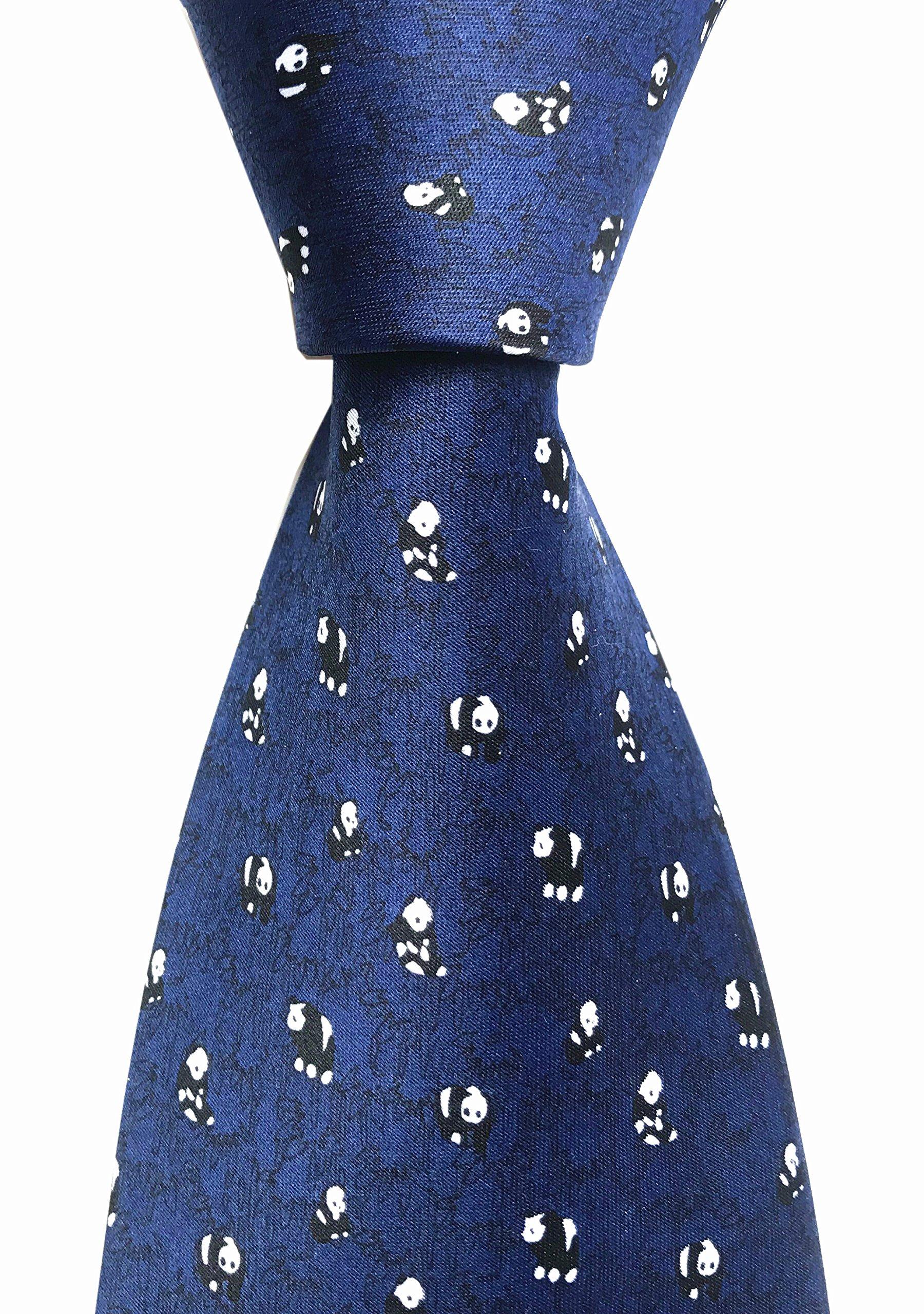 Secdtie Mens Classic Silk Tie Dragon Panda Printed Jacquard Woven Party Necktie