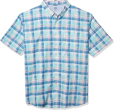 IZOD Mens Big and Tall Saltwater Dockside Chambray Short Sleeve Button Down Plaid Shirt
