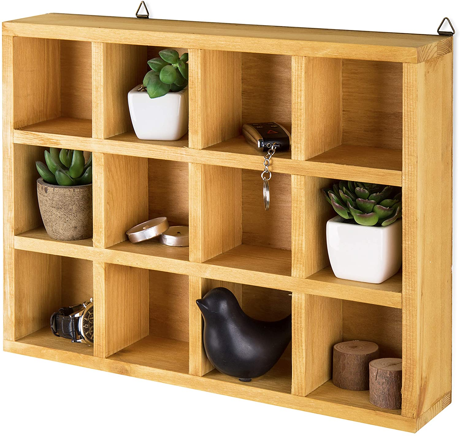 MyGift Wooden Freestanding/Wall Mounted 12 Compartment Shadow Box/Display Shelf Shelving Unit