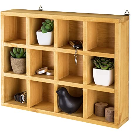 MyGift Wooden Freestanding Wall Mounted 12 Compartment Shadow Box Display Shelf Shelving Unit