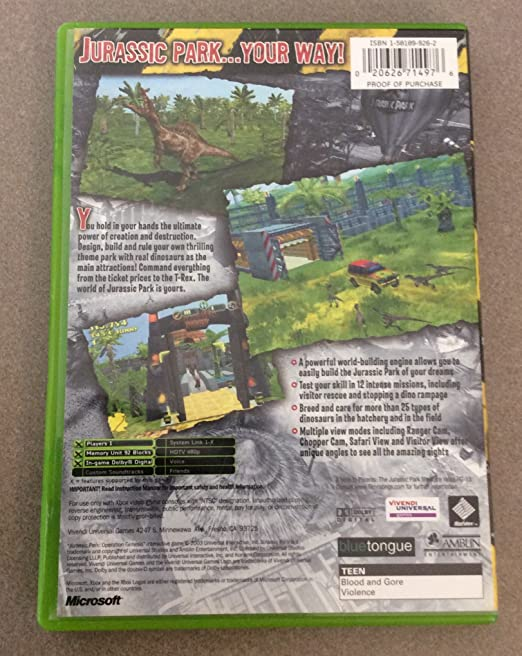 Amazon Jurassic Park Operation Genesis Video Games