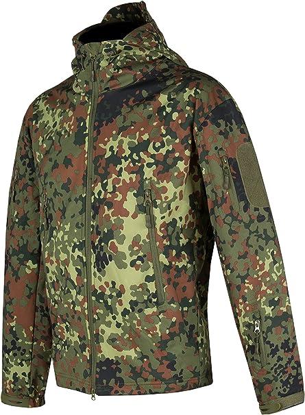 Giacca Tattica German Camo Taglia S Uomo ACE Giacca Tactical Softshell Multitasche Giacca Militare con Cappuccio