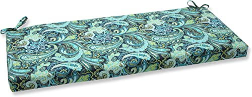 Pillow Perfect Outdoor Indoor Pretty Paisley Navy Bench Swing Cushion, 45 x 18 , Blue