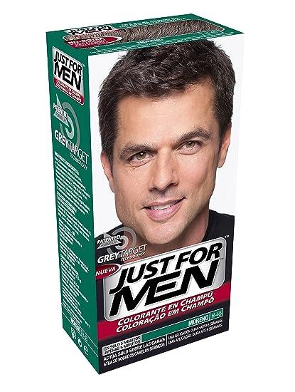 JUST FOR MEN Colorante en champú - Tinte para las canas del pelo para hombres -