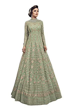 b0b2951cc9 Aria Fabrics Butterfly Net Gown (Swgt-810_Mehendi_Free Size): Amazon.in:  Clothing & Accessories