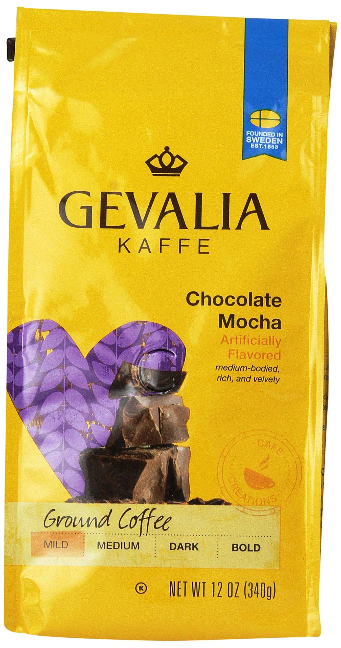 GEVALIA Chocolate Mocha, Mild, Ground Coffee, 12 Ounce, 6 Pack by Gevalia