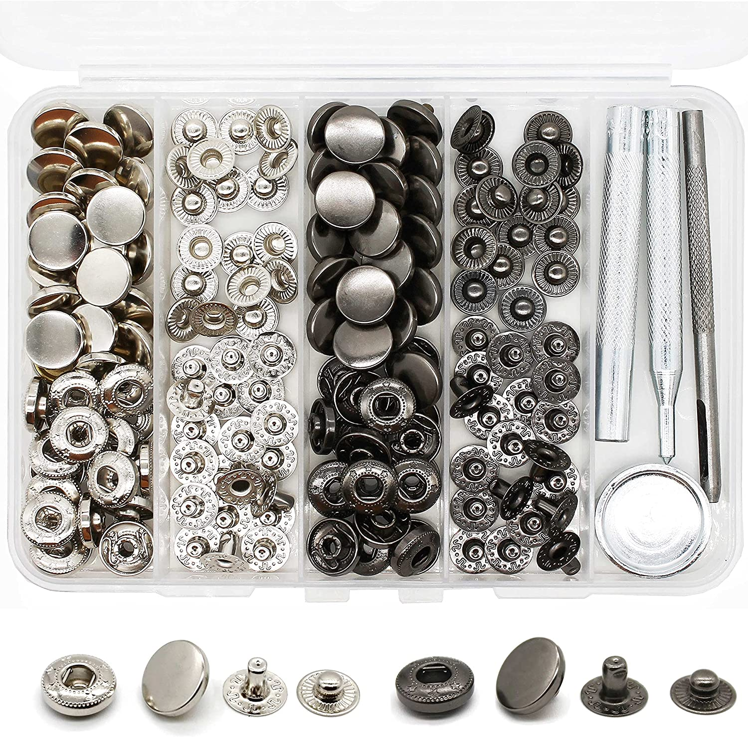40 Sets Heavy Duty Leather Snap Fasteners Kit, 12.5mm Metal Snap Buttons Kit Press Studs with 4 Install Tools, Leather Rivets and Snaps for Clothing, Leather, Jeans, Jackets, Bracelets, Bags (Line 20)