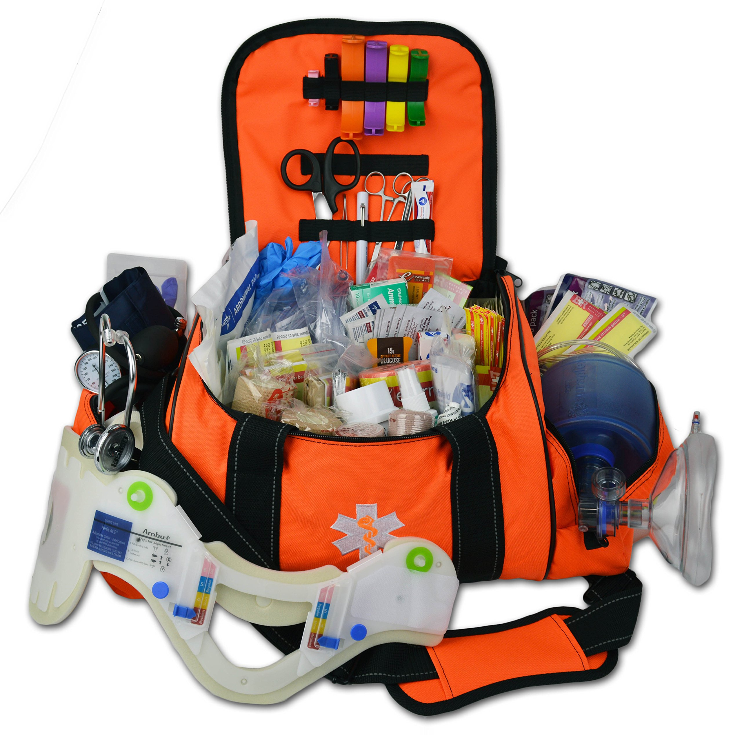 Lightning X Deluxe Stocked Large EMT First Aid Trauma Bag Fill Kit w/ Emergency Medical Supplies (Fluorescent Orange) by Lightning X Products