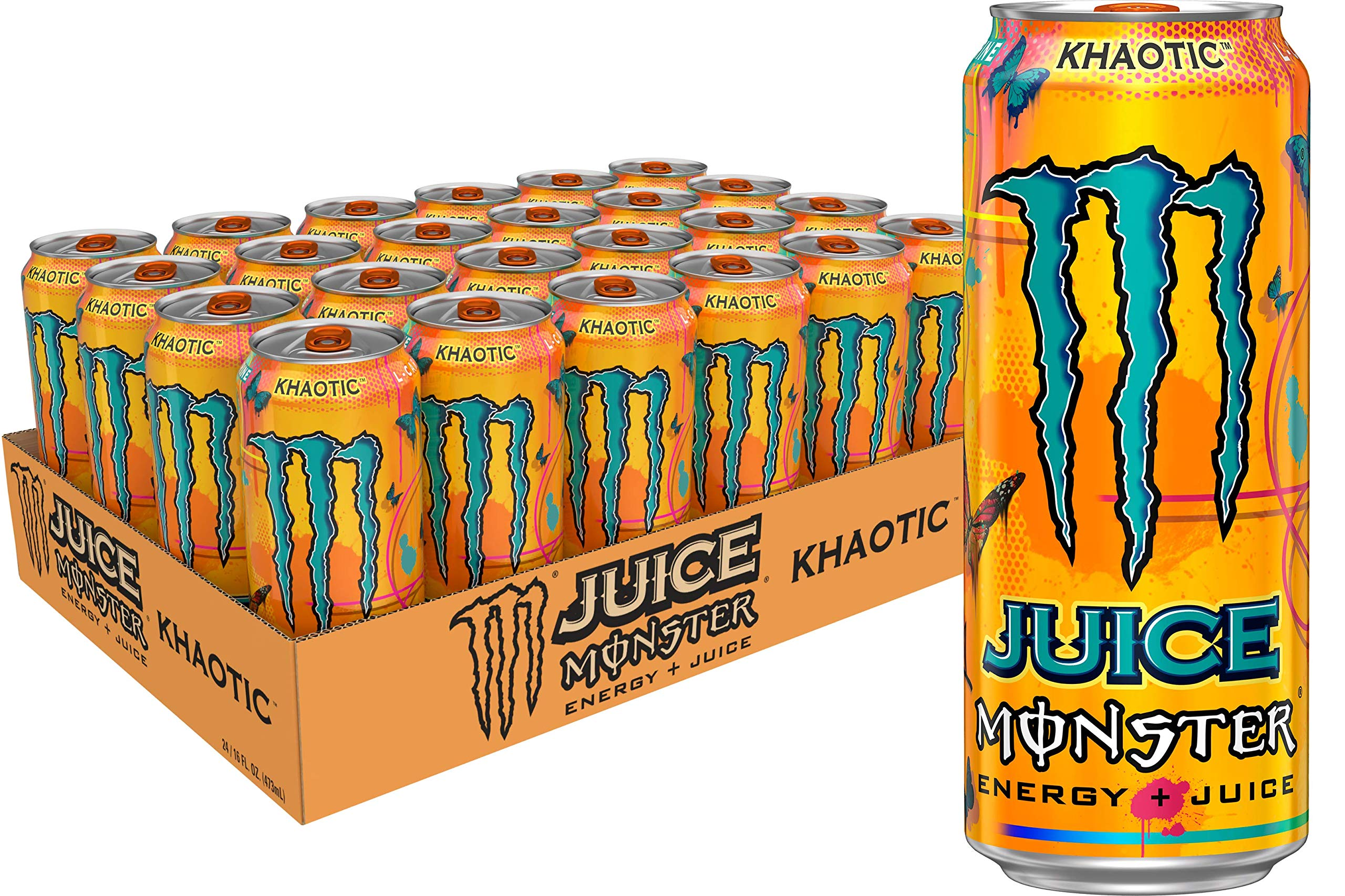 Monster Energy Juice Monster, Energy + Juice, Khaotic, 16 Ounce (Pack of 24)
