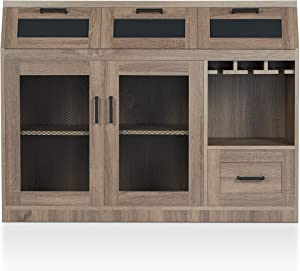 HOMES: Inside + Out Tanaka Transitional Style Buffet Server, Chestnut Brown