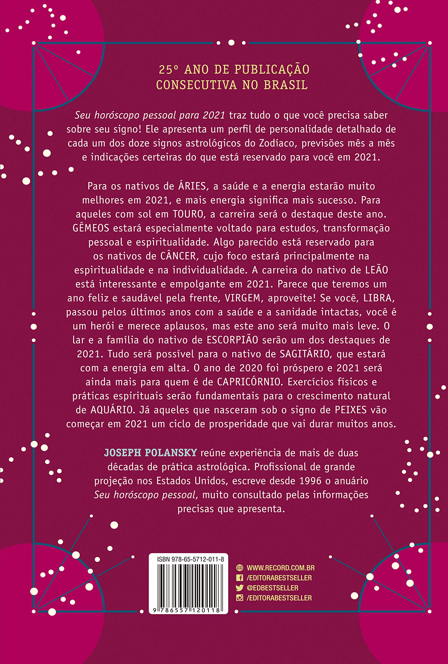 Livro 'Seu horóscopo pessoal para 2021' por Joseph Polansky