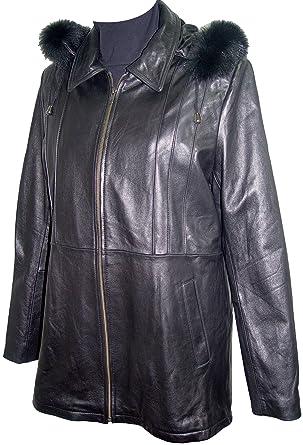 be6295855b435 Nettailor 4001 Classic Fur Trim Leather Hooded Jacket 4 Season Wear Winter Coats  Black