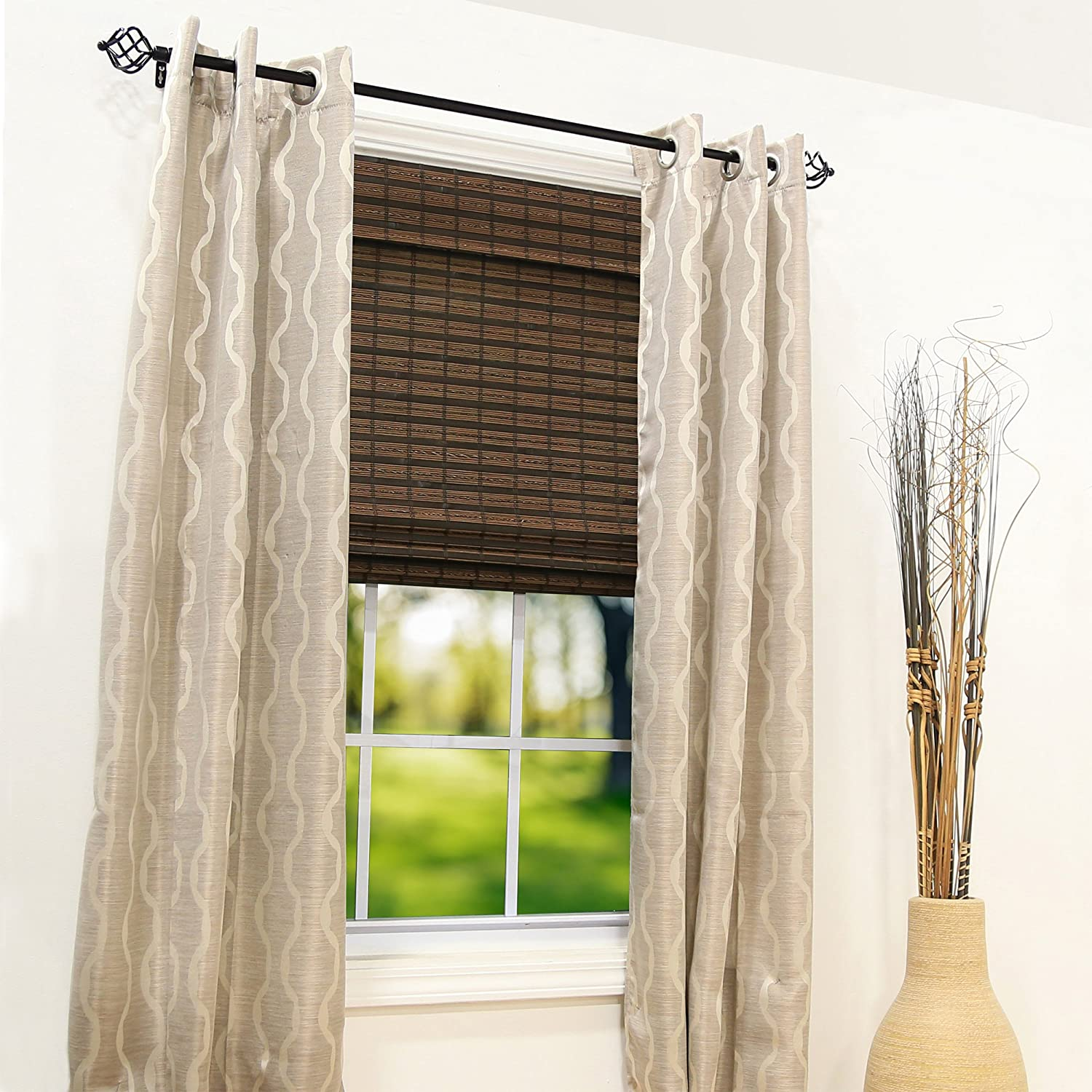 W x 64 in Radiance Cordless Cocoa Havana Flatweave Bamboo Roman Shade L 30 in