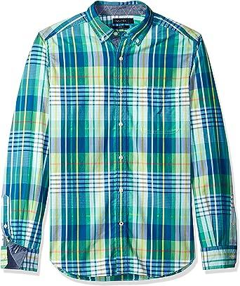 Nautica Hombre Manga Larga Camisa de Botones - Verde - Small ...