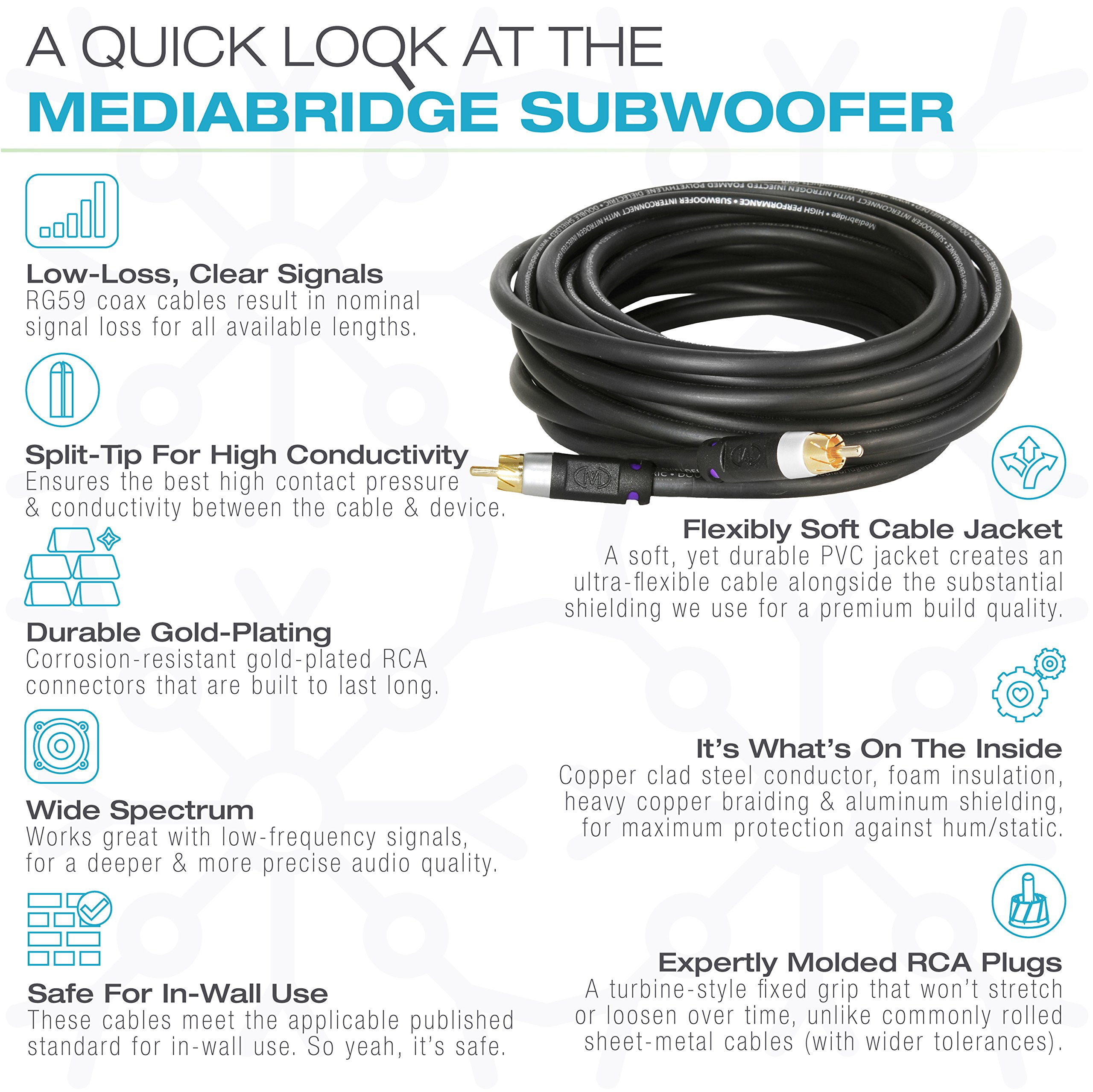 Mediabridge ULTRA Series Subwoofer Cable (75 Feet) - Dual Shield - Gold Plated - Black - (Part# CJ75-6BR-G1 ) by Mediabridge (Image #5)