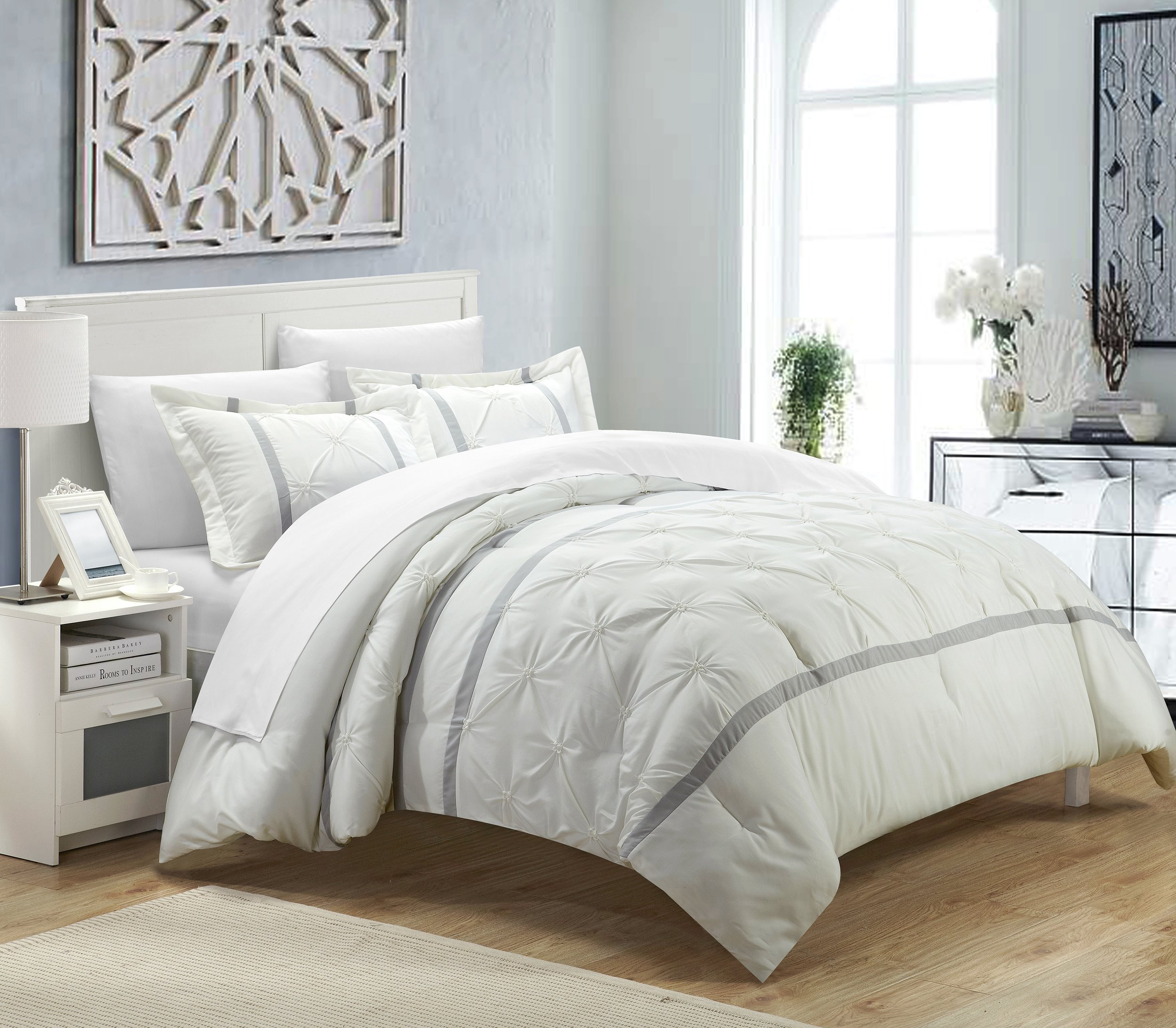 Chic Home 3 Piece Veronica Pinch Pleat Pintuck Duvet Cover Set, King, White