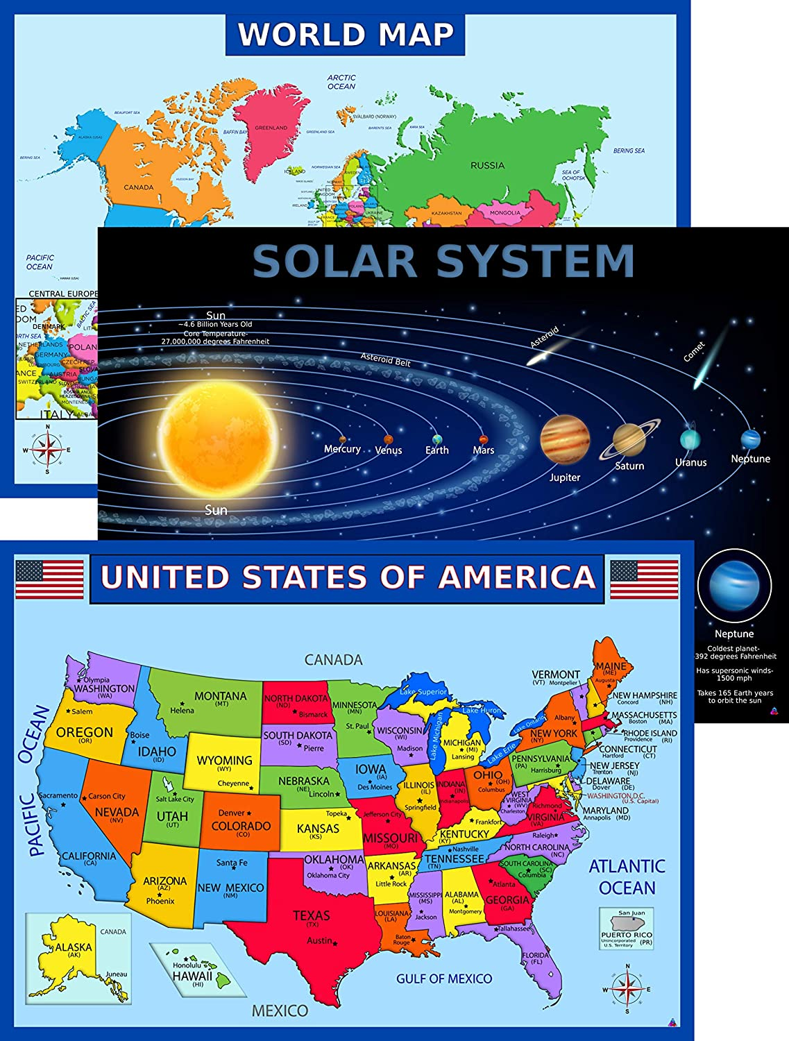 World Map Poster, United States USA Map, Solar System Posters for Kids | Laminated | Size 14x19.5 in.| Educational Posters for Elementary Classroom Decorations, Teacher Supplies (Maps and Solar)