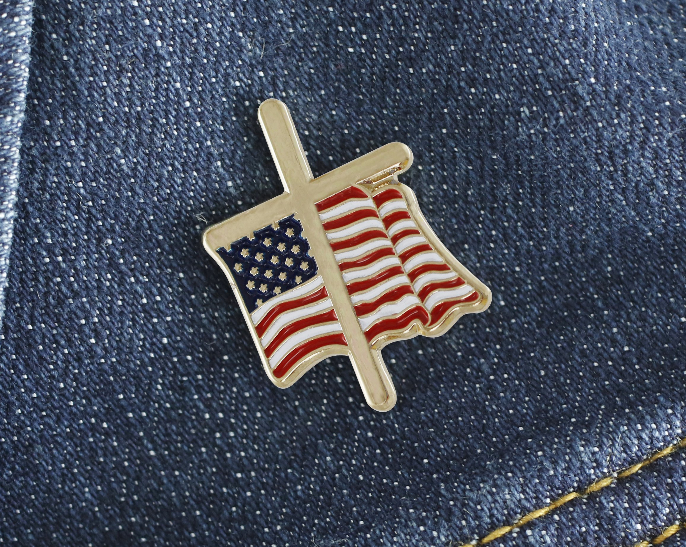 American Flag with Religious Cross Lapel Pin (50 Pins) by Forge (Image #5)