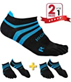HIGH FIT Pro Lightweight Toe Socks No Show Design, Perfect for Running, for Men & Women (2 Pairs)
