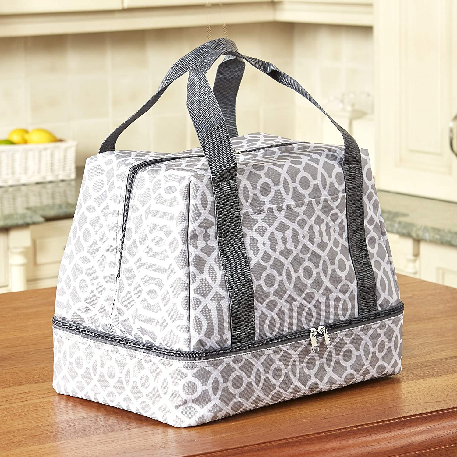 2-In-1 Compartment Slow Cooker and Casserole Carrier Bag - Gray Lattice