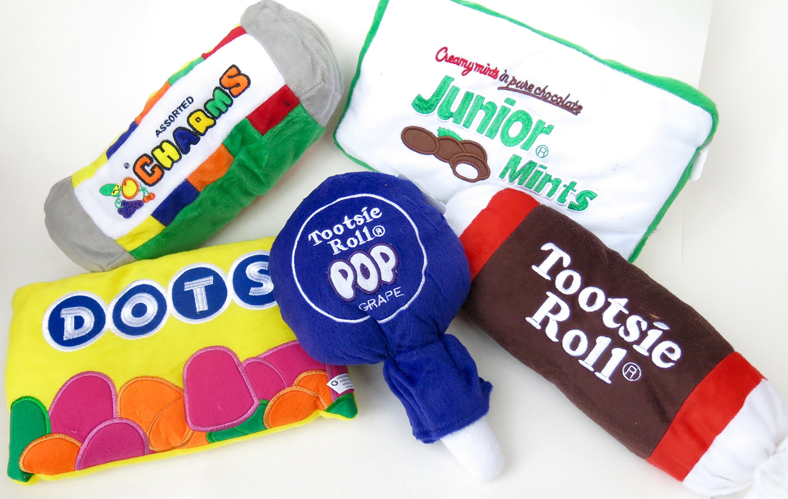 Pillows, Assorted Candy and Sweets Pillows, Tootsie Rolls, Dots, Donuts, Cakes and Ice Cream Cones, Fun Pillows, 5 pieces pillow.