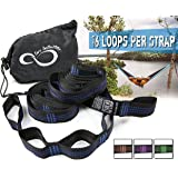 Hammock Hanging Tree Straps- Adjustable 16 Loop Per Strap - Stretch Resistant Poly Filament Webbed Straps With Triple Stitched Connection Points & Cinch Top Carrying Bag