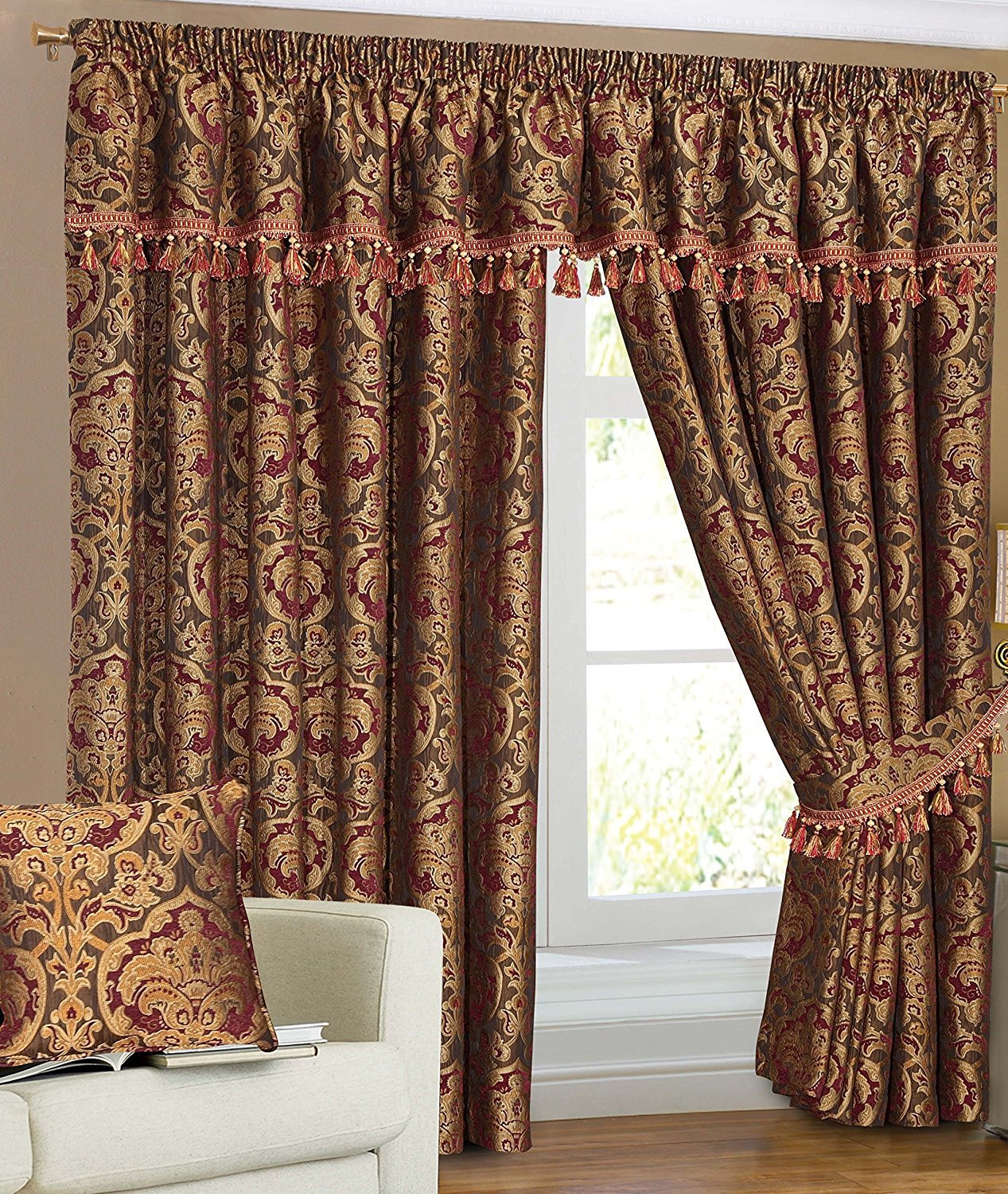 Fully Lined Readymade Pencil Pleat Heavy Chenille Georgeia Curtains Pair, Matching Pelmet, Tie Backs & Cushion Covers (Cushion Cover 23″x 23″) Prime Linens