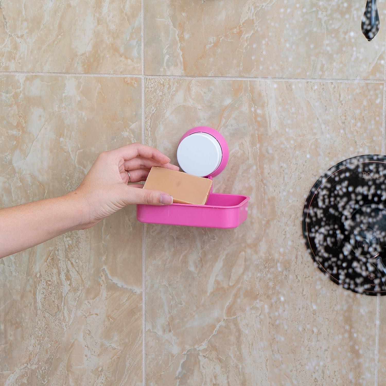 for Shower Or Bathroom Use. Super Strong Suction Technology Soap Bar Holder Pink