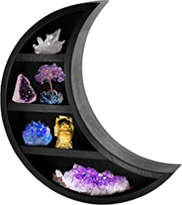 TopMoon Wooden Moon Shelf - Moon Decor for Bedroom, Bathroom, Living Room - Hanging Crescent Moon Shelf for Crystals, Stone Display - Moon Shaped Wall Decor for Essential Oil, Perfume - 14