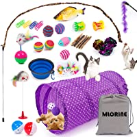 Cat Toys Kitten Toys 34pcs Assorted Cat Tunnel Catnip Fish Feather Teaser Wand Fish Fluffy Mouse Mice Balls and Bells…