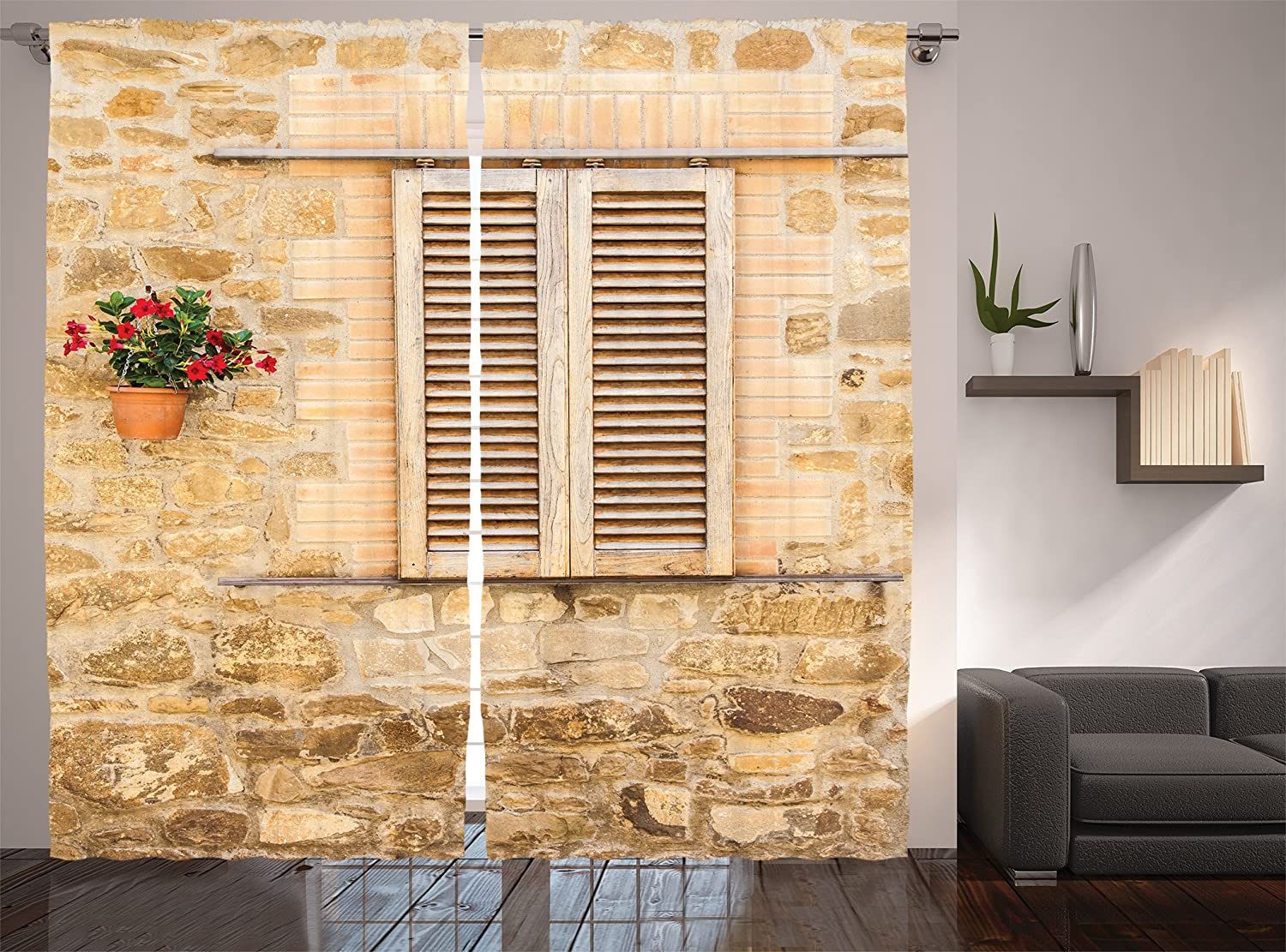 Amazon.com: Lunarable Tuscan Curtains, Rustic Stone House and Window ...