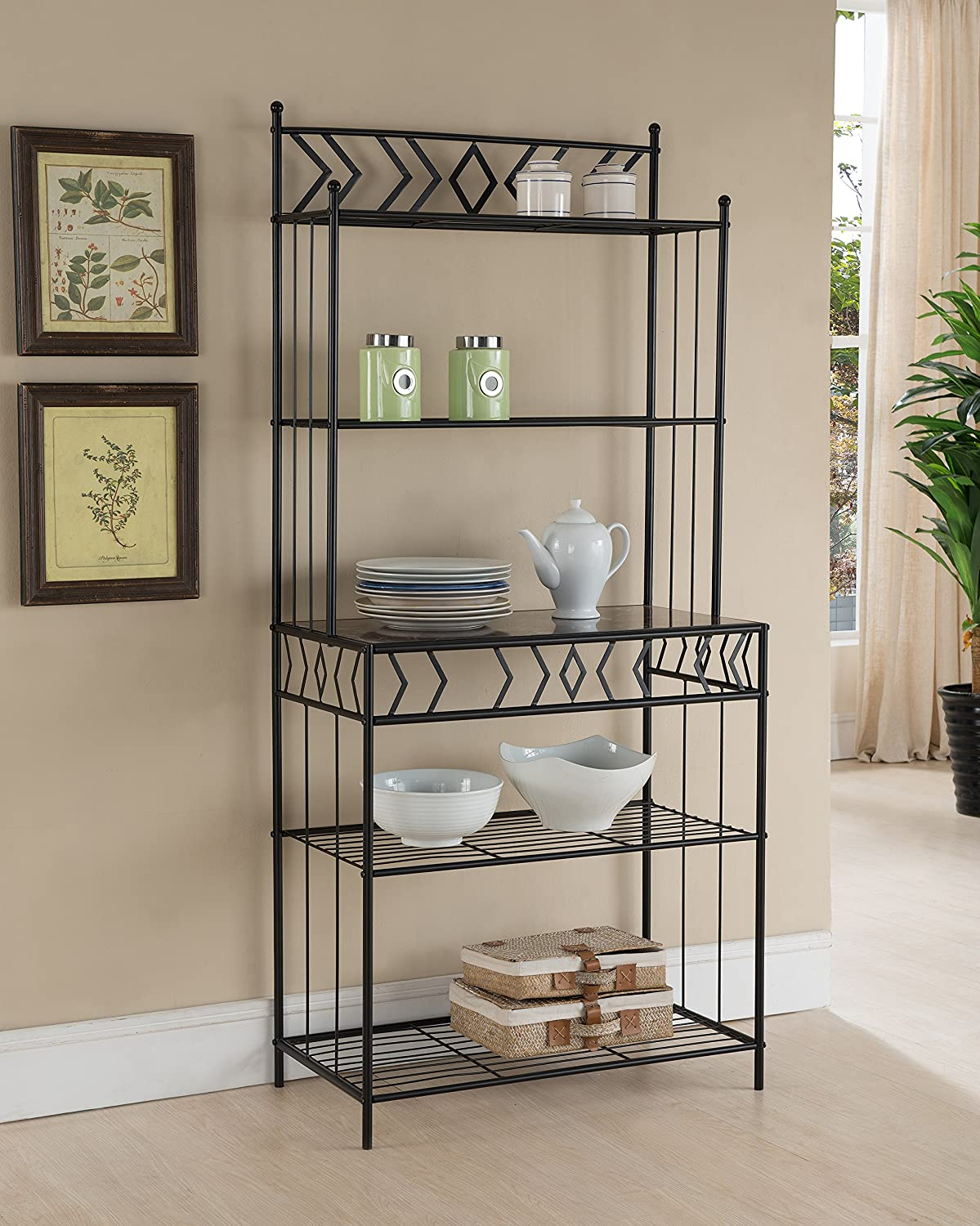 Kings Brand Furniture Metal With Marble Finish 5 Tier Bakers Rack, Black