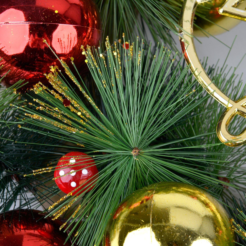 Funpa Christmas Wreath 16 Inch Artificial Pine Wreath Outdoor Christmas Wreath with Christmas Baubles Decorative Door Wreath Hanger Door Wall Windows Home Decoration