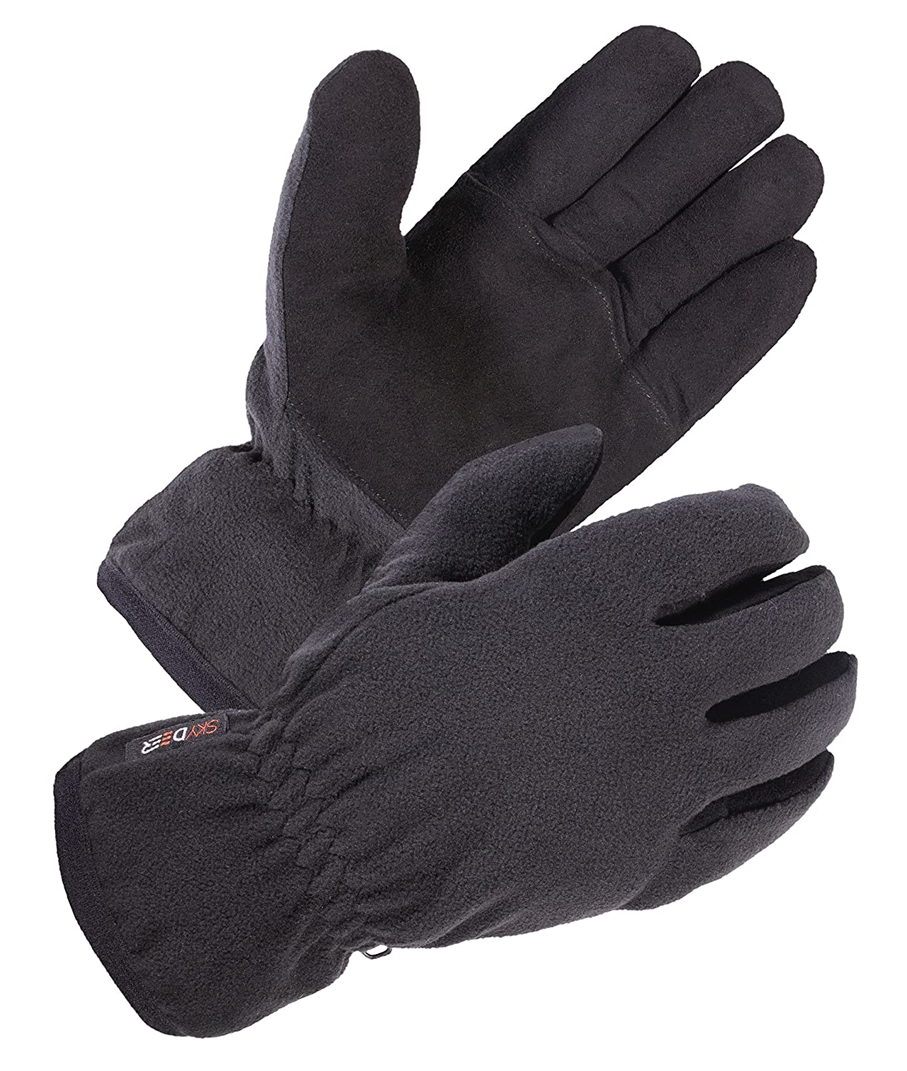 SKYDEERE Winter Running Gloves - Heated Soft Deerskin Warm Leather and Fleece Glove, with 3M Thinsulate Insulation Suitable for Outdoor Sport and Keep Warm in Cold Weather (Gray Medium) SKYDEER CO. SD8662T/M