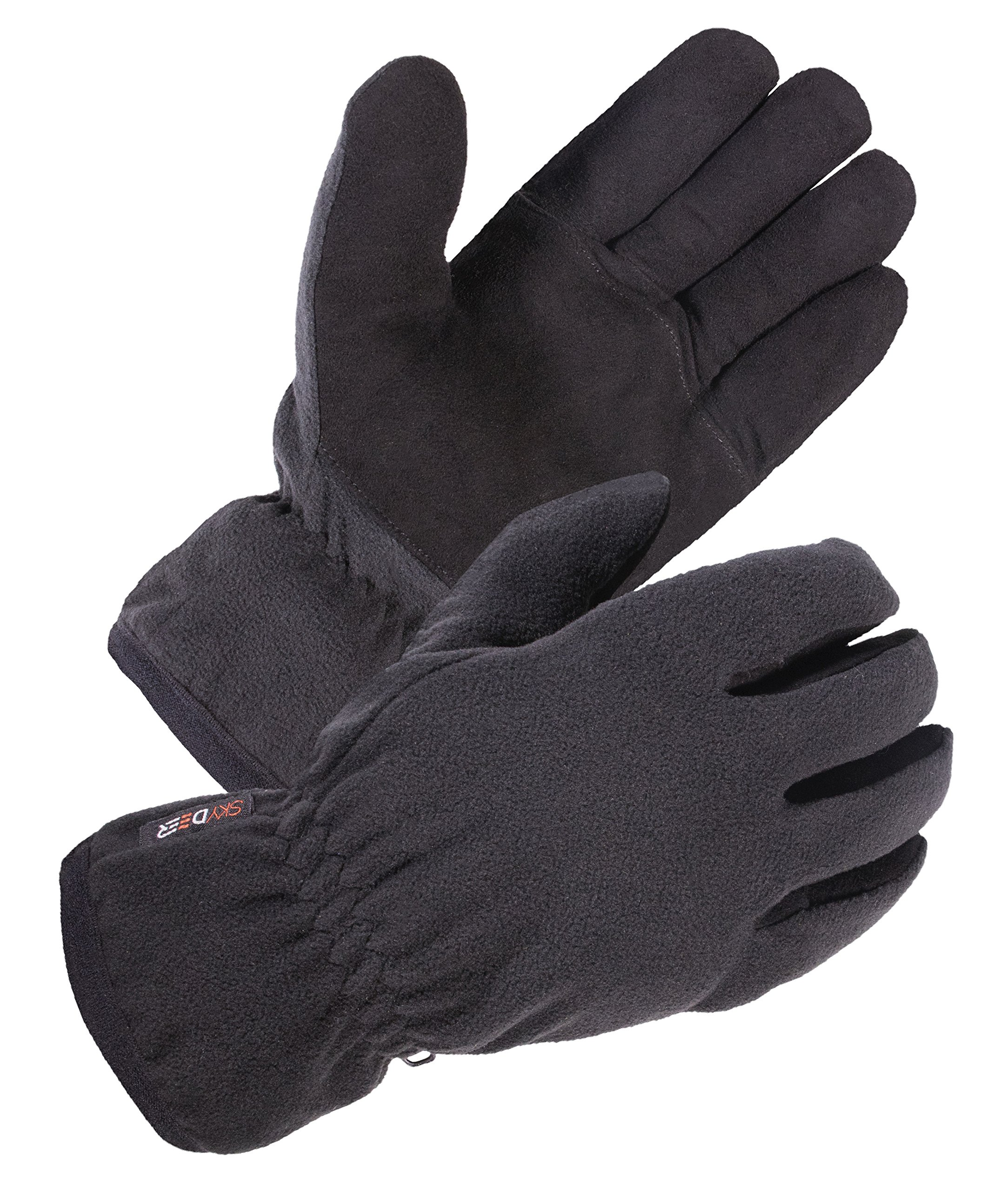 SKYDEER Winter Work Glove with Warm Deerskin Suede Leather and Thick Windproof Polar Fleece (SD8661T/S)
