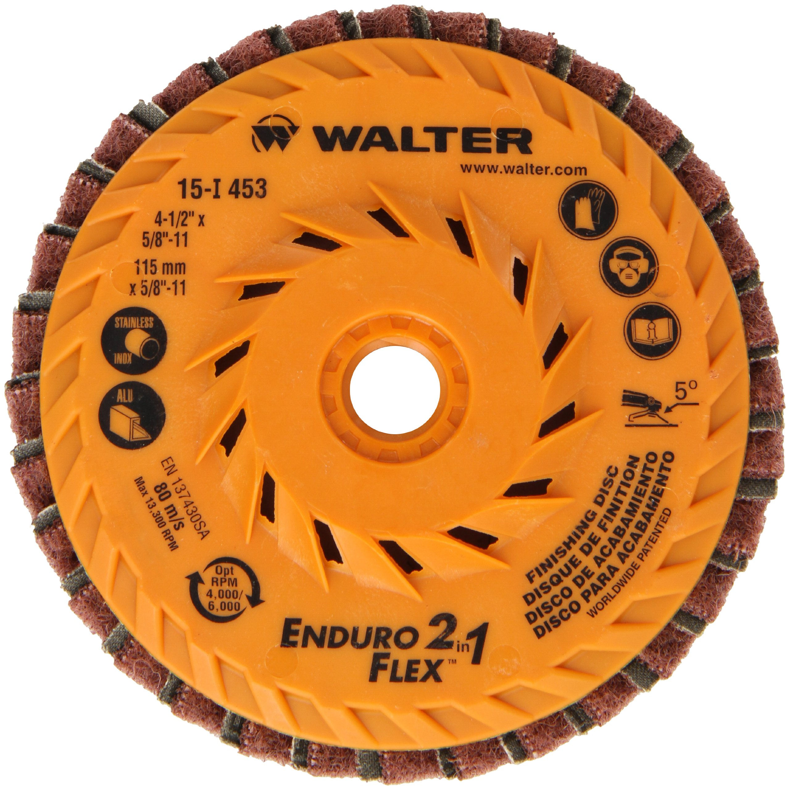 Walter Enduro-Flex 2 In 1 Abrasive Flap Disc, Type 29, 5/8''-11 Thread Size, Plastic Backing, Aluminum Oxide, 4-1/2'' Diameter (Pack of 10) by Walter Surface Technologies