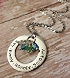 "Mother's Hand Stamped and Personalized Birthstone Necklace 18"" or 22"" Chain"