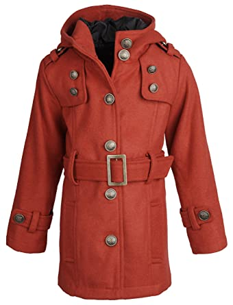 Amazon.com: Shampoo Little Girls Hooded Dressy Wool Pea Coat with ...