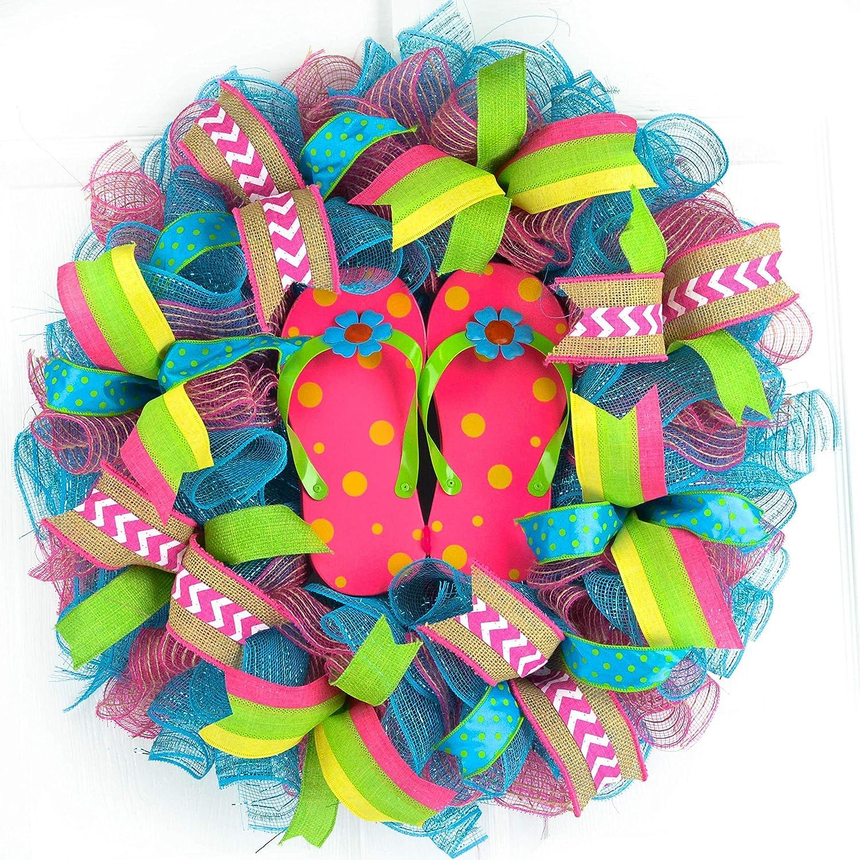 Pink Wreath Summer Wreath Live life in flip flops Wreath Everyday Wreath