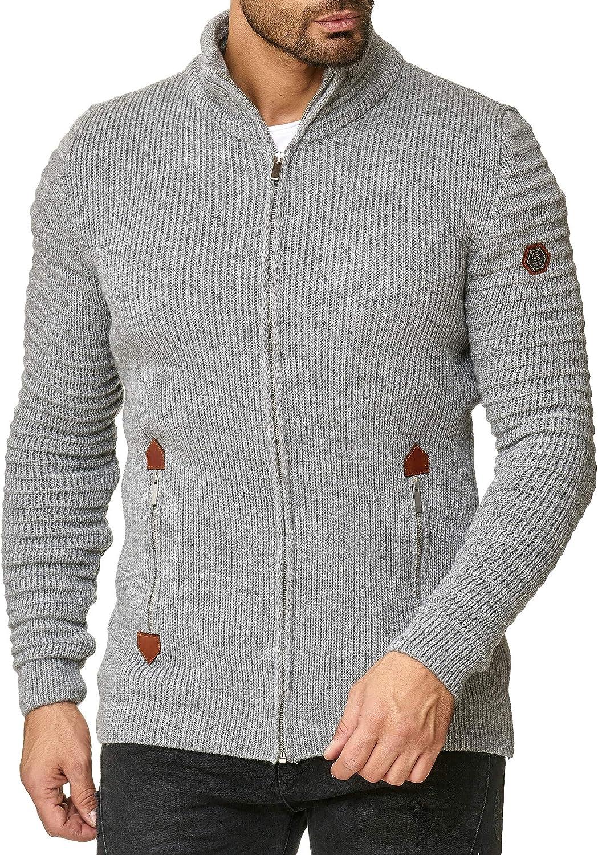 Redbridge Cárdigan Casual de Punto con Cuello Alto para Hombre