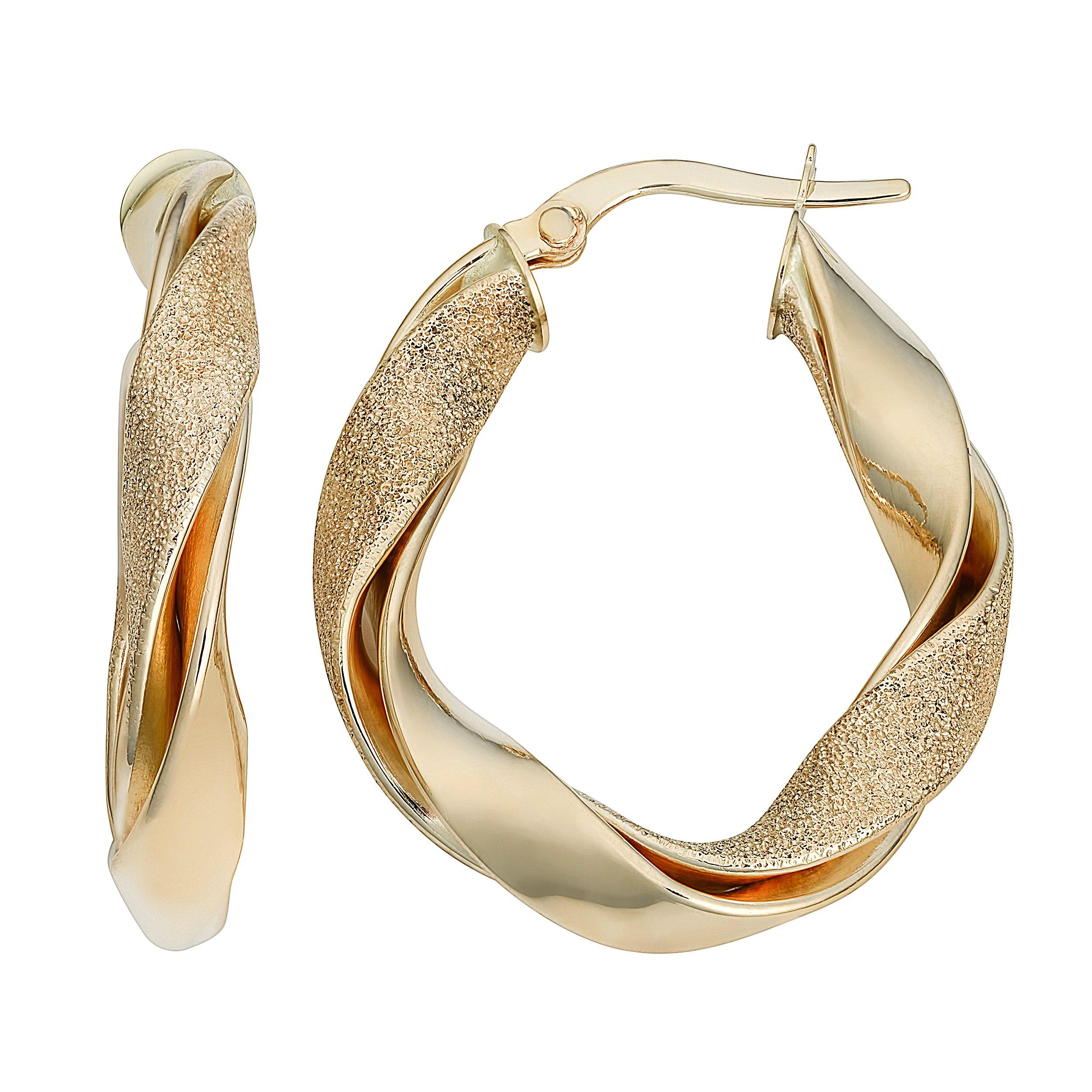 14k Yellow Gold Stylish Twisted Oval Hoop Earrings