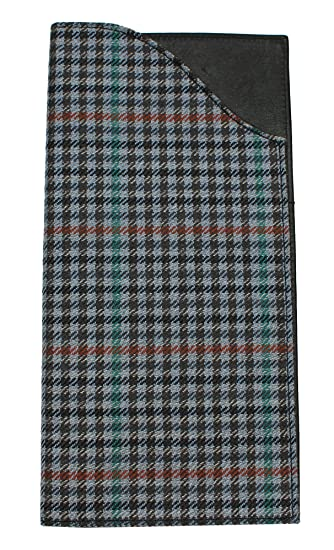 eMMe Passport Wallet Blue Houndstooth Plaid Wool Cover with Leather Interior