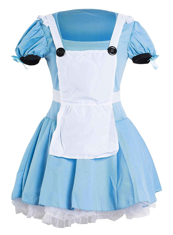 Traje de Alicia en el país de las maravillas de Emmas Wardrobe - incluye el vestido azul, el delantal blanco y la venda negra - vestido de lujo para ...