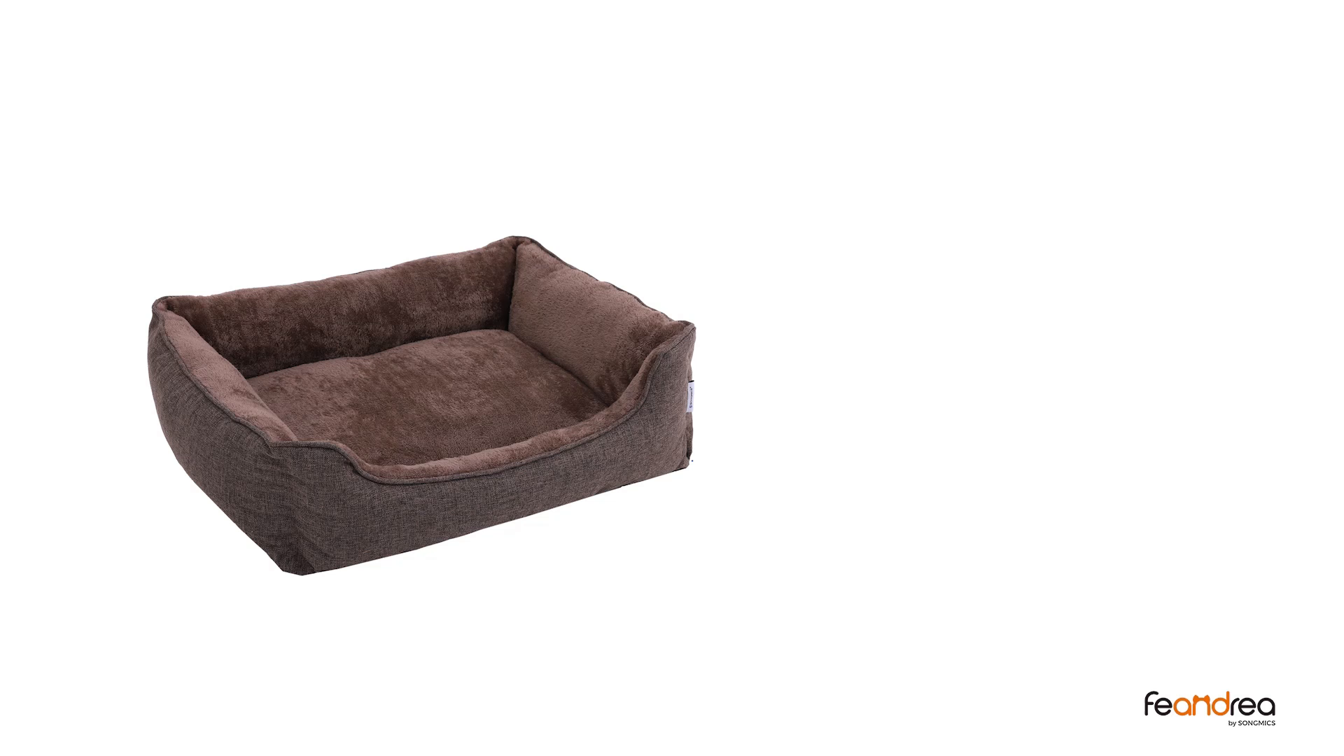 FEANDREA Washable Plush Dog Bed with Removable Cover, Dog Sofa, Brown PGW10CC 7