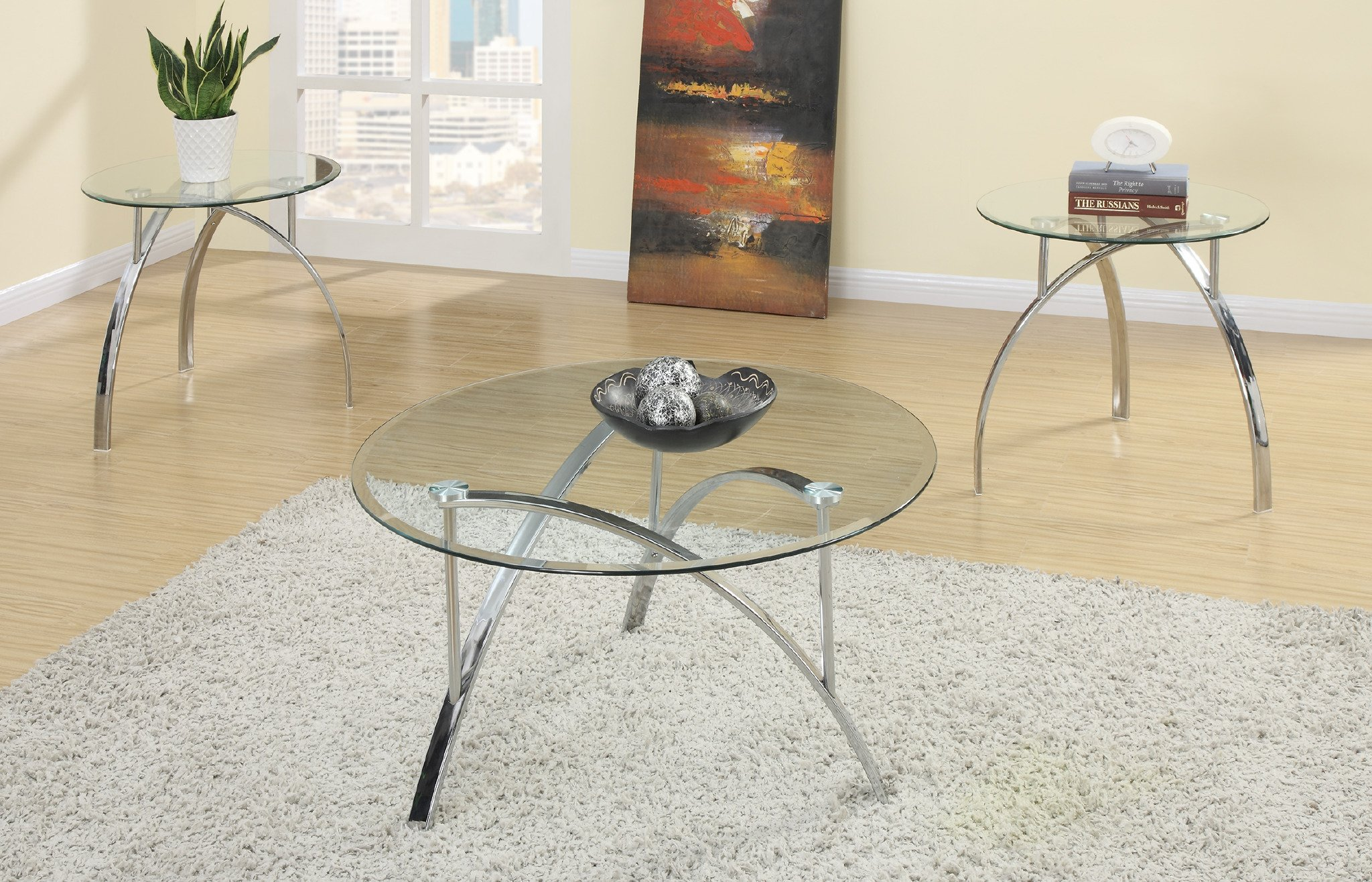 Major-Q 3Pc Modern Round 8mm Tempered Glass Top Chrome Legs Coffee and End Table Set by Major-Q