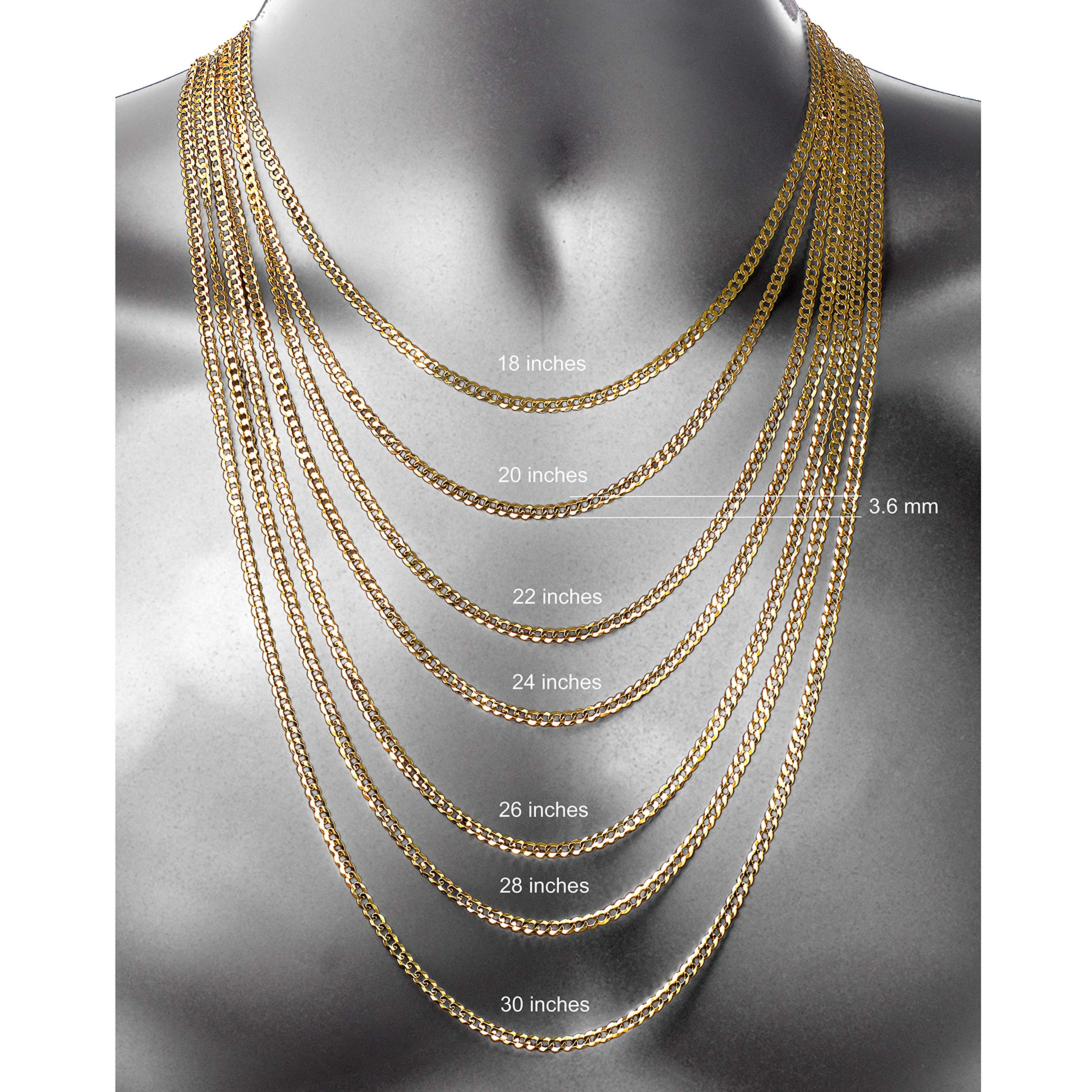 Pairfection 14K Yellow Solid Curb Gold with Lobster Clasp - 3.60 MM Wide 20 Inches Long Necklace by Pairfection (Image #4)