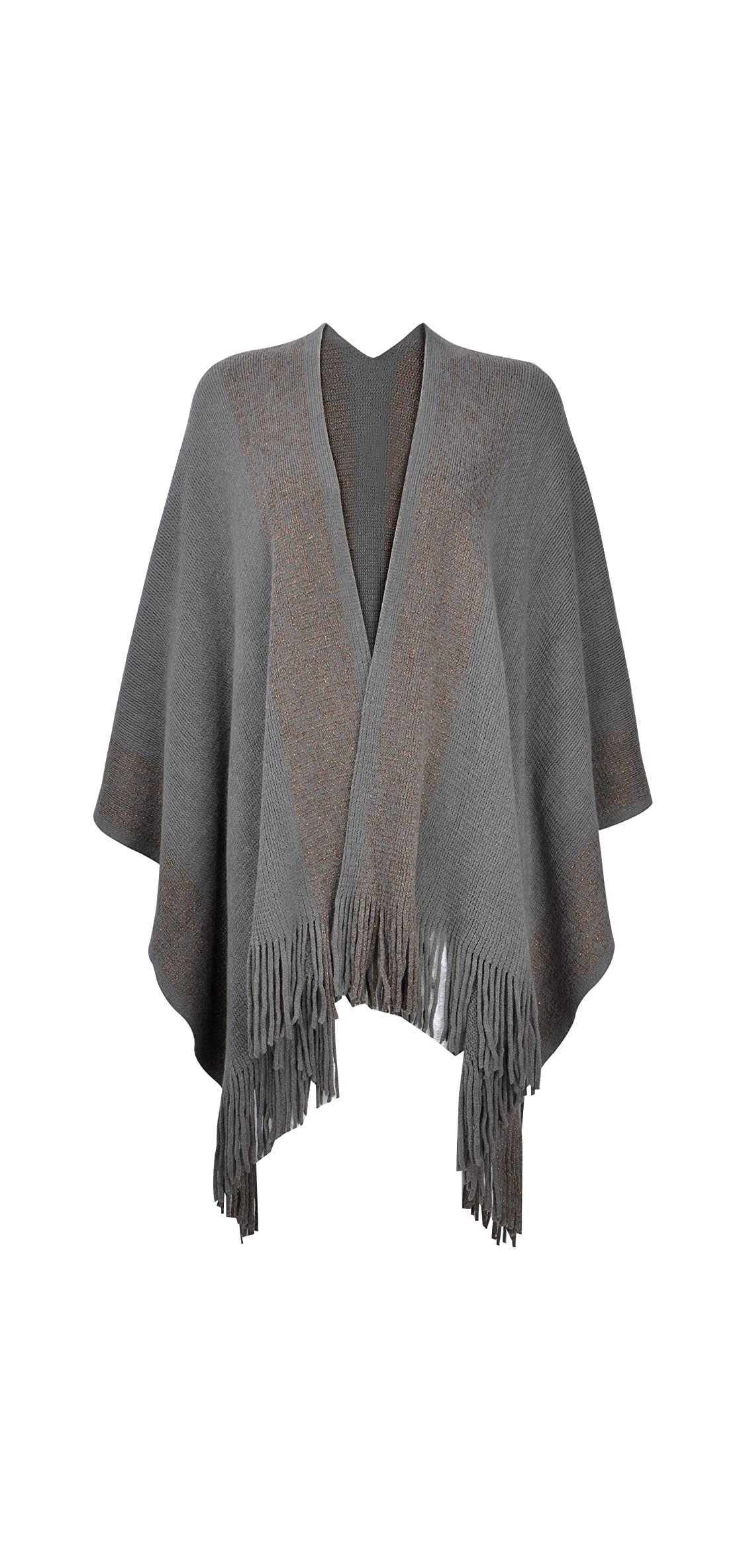 Women's Shawl Golden Trim Knit Blanket Wrap Fringe Poncho