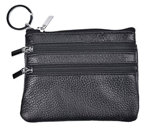 0fee7f8e72d Yeeasy Womens Mini Coin Purse Wallet Genuine Leather Zipper Pouch with Key  Ring (Black)